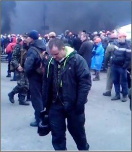 One of several pro-Maidan snipers (background left in photo) shown in video on YouTube from Feb. 20, 2014