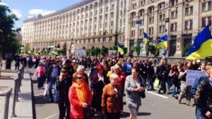 Protest in Kyiv against soaring utilities prices, May 16, 2015 (Press TV)