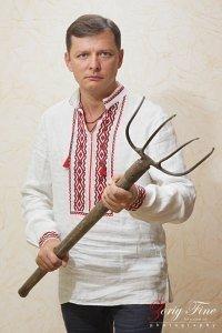 Radical Party leader Oleh Lyashko dressed in traditional Ukrainian shirt, the 'vyshyvanka'