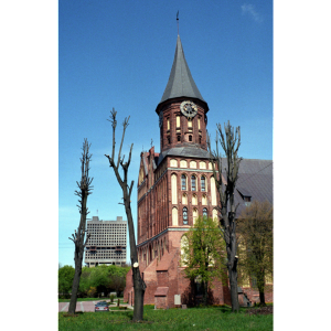Restored Königsberg Cathedral in front of the 'House of the Soviets' in Kaliningrad, May 2005 (AP)