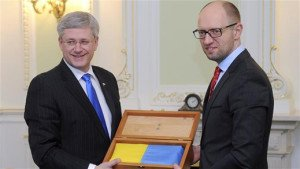 Stephen Harper and Arseniy Yatsenyuk