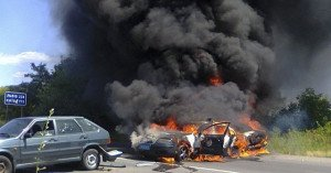 Two police vehicles hit by Right Sector rocket grenades on July 11, 2015 in Mukachevo