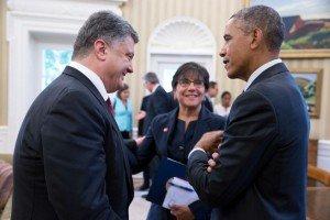 U.S. President Obama talks with President Petro Poroshenko of Ukraine and Commerce Secretary Penny Pritzker in the Oval Office, Sept. 18, 2014 (White House photo by Pete Souza)
