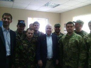 U.S. Senator John McCain (center) with members of the fascist Dnepr-1 Battalion, June 19, 2015.