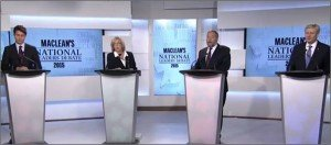 Canadian political leaders debate on Aug 6, 2015