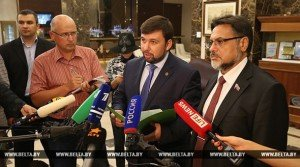 Denis Pushilin of Donetsk people's republic and OSCE representative at meeting in early August 2015