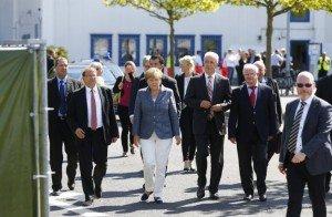 German Chancellor Angela Merkel visits refugee center in Heidenau, Germany on Aug. 26, 2015 (Reuters)