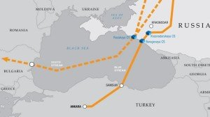 Map shows proposed Turkish Steam pipeline (and abandoned South Stream) of Russia's Gazprom