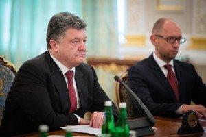 Ukrainian President Petro Poroshenko and Prime Minister Arseniy Yatsenyuk