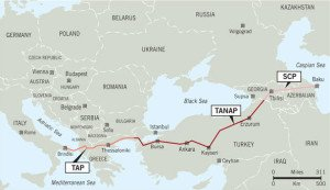 Proposed TAP and TANAP pipelines