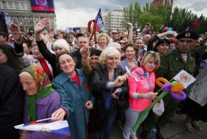 Rally in Donetsk May 11, 2015 to mark one-year anniversary of independence vote (AFP)
