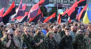 'Right Sector' extreme-right cadre in Ukraine (Sputnik)