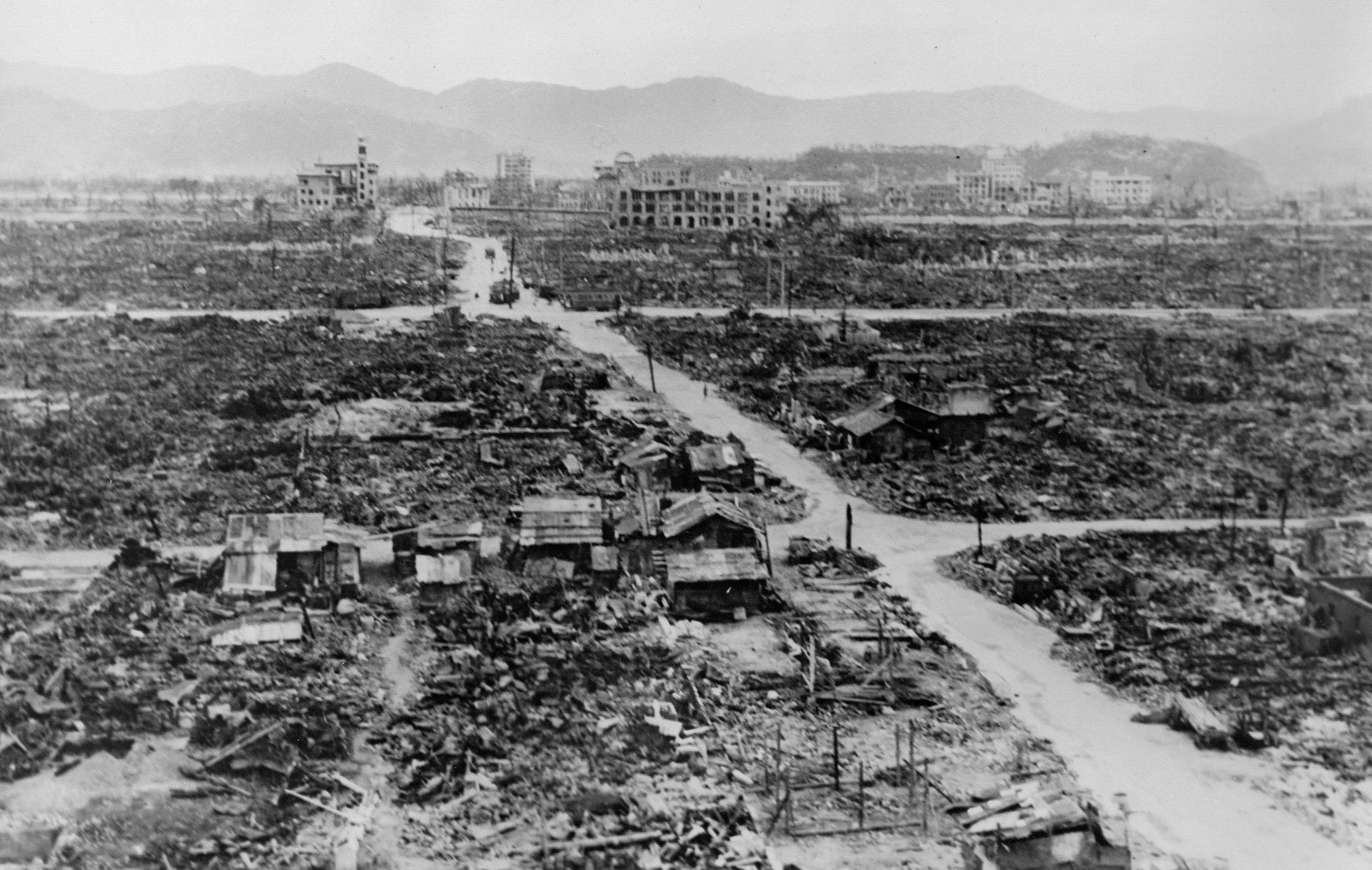 Панорама Нагасаки после ядерного удара. Август 1945 г.