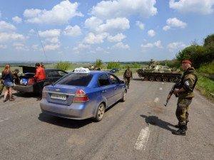 Ukraine army checkpoint entering Donbas, southeast Ukraine