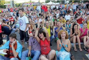 Football fans in Donetsk at 2012 Euro Cup contest