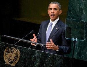 President Barak Obama speaks to UN General Assembly on Sept 28, 2015 (Andrew Harnik, AP)