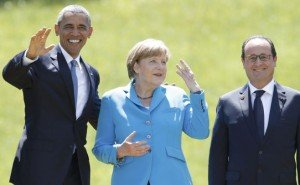 President Obama, Chancellor Merkel and President Hollande at G7 ('G1-plus 6') summit meeting in Germany June 7, 2015 (Christian Hartmann, Reuters)