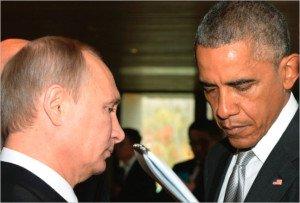 Vladimir Putin and Barak Obama at United Nations on Sept 28, 2015