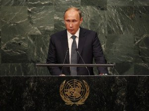 Russian President Vladimir Putin addresses the 70th session of the United Nations General Assembly, Sept 28, 2015