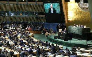 Vladimir Putin speaks to UN General Assembly on Sept 28, 2015 (photo on Ruusian presidential website)