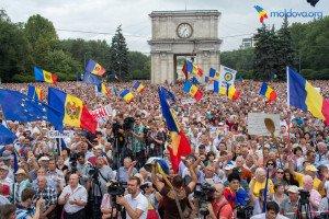 Anti-corruption, anti-government protest in Chisinau, Moldova on Sept 6, 2015