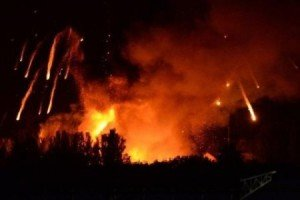Fire and explosions at munitions warehouse in Svatove, eastern Ukraine on Oct 29, 2015
