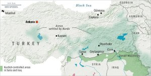 Map of Turkey and its Kurdish populations