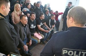 Political prisoners of the Red Bloc' in Moldova, at a court hearing in the city of Risinau on Oct 28, 2015. On left, seated, is Gregory Petrenko