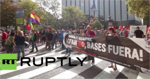 Rally in Zaragoza, Spain on Oct 3, 2015 against forthcoming 'Trident Juncture' NATO military exercises