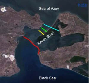 Red line shows chosen route of Kerch Strait Bridge (image from Wikipedia)