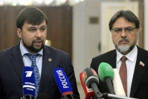 Representatives of the Donetsk People's Republic, Denis Pushilin (L) and Lugansk People's Republic, Vladislav Deinego (TASS)