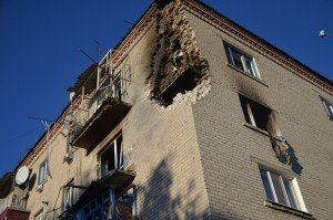 Residential building in Svatove damaged by explosion of munitions warehouse on Oct 30, 2015