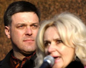 Svoboda Party leader Oleh Tyahnybok (R)