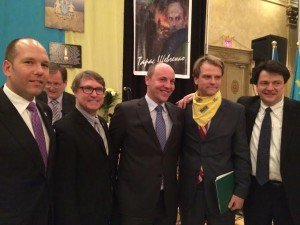 Then-Minister of Immigration Chris Alexander (yellow scarf) shares center stage with Ukrainian ultra-rightist Andriy Parubiy (on his right) and officials of Ukrainian Canadian Congress, in Toronto Feb 22, 2015
