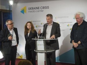 Timothy Snyder speaking at press briefing in Kyiv during a five-day symposium 'Ukraine -Thinking together'