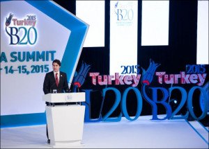 Canadian Prime Minister Justin Trudeau speaks to G20 summit in Turkey, Nov 2015 (photo by Office of PM Trudeau)