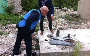 Nils Muižnieks of Council of Europe examines shelling in yard of hospital N 21 in Kuybyshev district of Donetsk, summer 2015