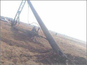 One of the electricity pylons servicing Crimea sabotaged on Nov 20, 2015 (TV Rezda image on Twitter)