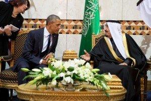 President Barack Obama meets Saudi King Salman during state visit to Saudi Arabia, Jan 27, 2015 (White House photo by Pete Souza)