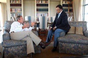 Prince Bandar bin Sultan, then Saudi ambassador to the United States, meeting with President George W. Bush on Aug. 27, 2002 (White House photo)