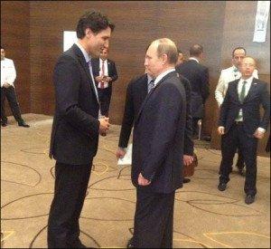 Justin Trudeau and Vladimir Putin in brief encounter at G20 summit in Turkey Nov 2015 (photo on Facebook)