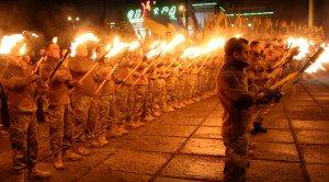 Azov Battalion torch parade in Mariupol, Ukraine on Dec 20, 2015 (YouTube screenshot)