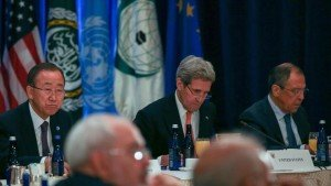 Ban Ki-Moon, John Kerry and Sergei Lavrov in New York on Dec 18, 2015