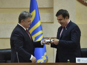 Ceremony marking appointment of Mikheil Saakashvili (R) as governor of Odessa, May 30, 2015 (Ukraine Presidential Service photo)