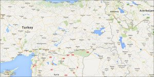 City of Diyabakir in eastern Turkey is near center of map