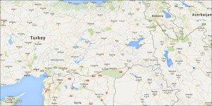 City of Diyabakir in eastern Turkey is near center of map
