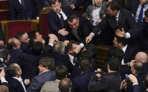 Fight night in Ukrainian Rada Dec 11, 2015 as PM Yatsenyuk is interrupted from delivering an annual statement (Rex photo)