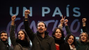 Leaders of left-wing Podemos party celebrate election result on Dec 20, 2015 (Daniel Ochoa de Olza, AP)