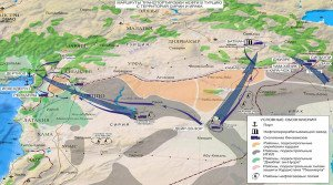 Map issued by Russian military Dec 2, 2015 showing ISIS oil sales routes from Iraq to Turkey