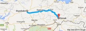 Map of Kurdish city of Diyabakir and surrounding region in central-eastern Turkey
